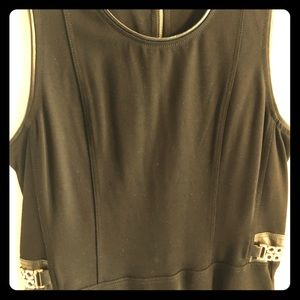 Black thick knit tank top with leather trim